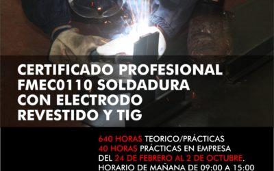 Curso de Soldadura con electrodo revestido y TIG con certificado de profesionalidad y totalmente gratuito