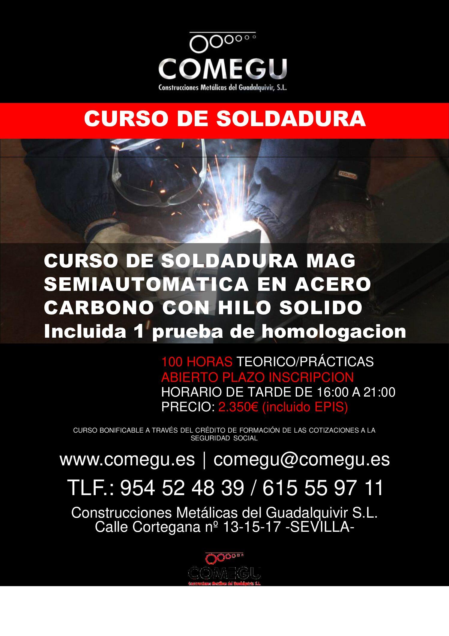 Curso de soldadura MAG semiautomatica en acero carbono con hilo solido.